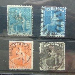 Barbados 1860 values to 1s Black Used  1873 1d Blue