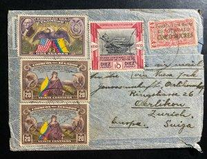 1939 Ecuador Airmail Cover To Zurich Switzerland