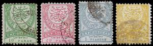 Turkey Scott 67-70 (1881-82) Used F, CV $5.00 D