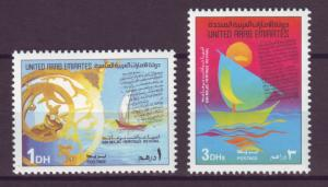 J20803 Jlstamps 1989 uae set mnh #293-4 ship/boat