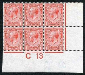 1d Royal Cypher Control C13 (I) U/M Block of six (top middle stamp tone spot)