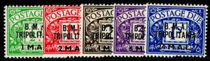 BRITISH LEVANT SG TD1-TD5, COMPLETE SET, NH MINT. Cat £50. 1922