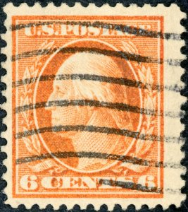 #379 – 1911 6c Washington, red orange, single line watermark. Used.