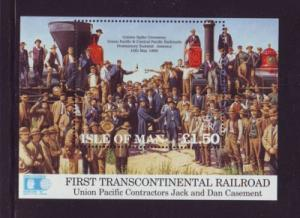 Isle of Man Sc 518 1992 Union Pacific RR stamp souvenir sheet mint NH
