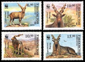 Uzbekistan WWF Markhor Screw Horn Goat 4v SG#62-65 MI#61-64 SC#64-67 CV£8.2