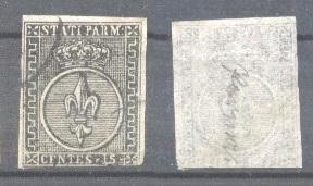 Italy Parma 1852 Coat of arms 15C Mi.3P black on white paper PROOFS SIGNED us...