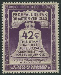 RV41 Mint VF LH on  ungummed rev Motor Vehicle