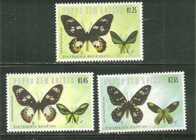 Papua New Guinea MNH 1041-3 Endangered Butterflies 2002