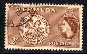 Bermuda 1953 - 62 QE2 2/-d Brown Arms of St George used SG 146 ( J293 )