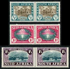 South Africa SG82/84 1939 KGVI Set of 3 in Pairs U/M
