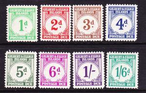 GILBERT & ELLICE IS 1940 POSTAGE DUE SET 8 MLH SG D 1/8