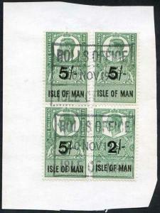 Isle of Man KGVI 5/- Block 4 Key Plate Type Revenues Used on Piece