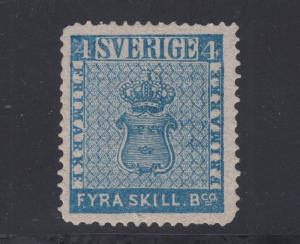 Sweden Sc 2p MNG. 1868 4s blue Coat of Arms, perf 14 re-issue.