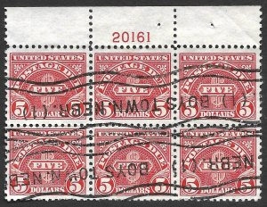 Doyle's_Stamps: 1930 Used $5 Postage Due Plate Block, Scott #J78