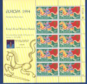 Guernsey Sc 526a 1994 Europa Kings Road Warrior Burial  stamp sheet mint NH