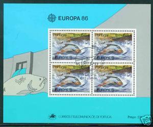 PORTUGAL  Scott 1672a  MH* 1986 Europa Fish Sheet CTO