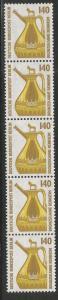 BERLIN 9N555  MNH, STRIP OF 5, COIL, BRONZE FLAGON REINHEIM