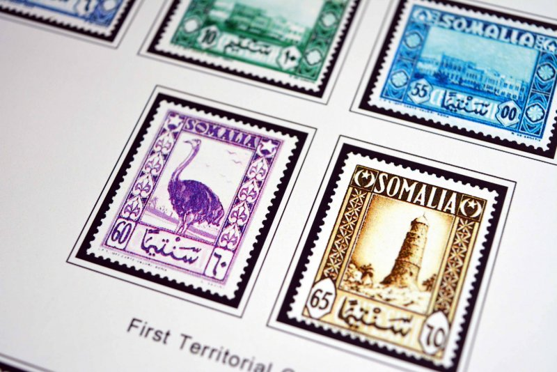 COLOR PRINTED ITALIAN SOMALIA 1903-1960 STAMP ALBUM PAGES (45 illustrated pages)