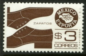MEXICO Exporta 1118a, $3P Shoes Prf 11 1/2 Unwmkd Paper 5. MINT, NH. VF.