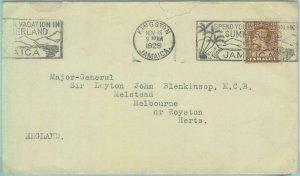 83374  - JAMAICA - POSTAL HISTORY - PROPAGANDA Postmark on COVER to UK  1929