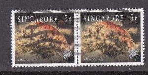 Singapore # 674, Tiger Cowrie, Pair, Used