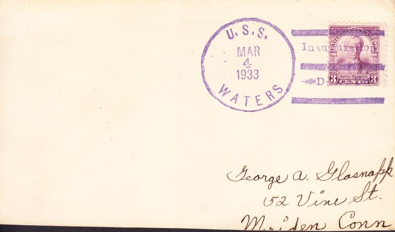 Unusual Ship Cancel with Inauguaral Day Slogan U.S.S. Waters-F.D.R.Cover