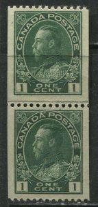 Canada 1915 1 cents green Admiral paste up vertical Coil pair unmounted mint NH