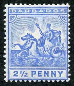 Barbados SG139 2 1/2d Blue wmk Mult Crown CA M/Mint