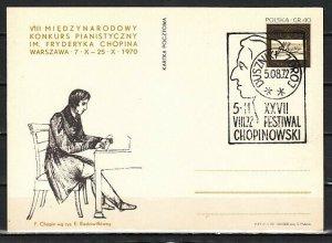 Poland, 1972 issue. 05/AUG/72 Chopin Festival Cancel on a Chopin Postal Card. *