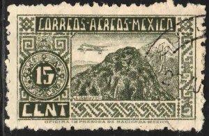 MEXICO C135, 15c 1934 Definitive. ORIZABA VOLCANO. USED. F-VF. (1067)