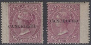 BC MAURITIUS 1863-72 QV Sc 41 & 41a TOP VALUES CANCELLED HINGED MINT SCV$310+
