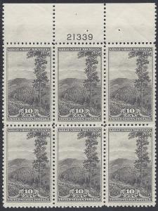 749 Plate block of 6 NP National Park 10cent Great Smokey NC
