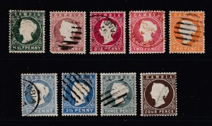 Gambia x 9 QV embossed heads all used