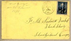 U.S. #216 cover Crescent City CA to Switzerland 1890 New Year cancel error sl...