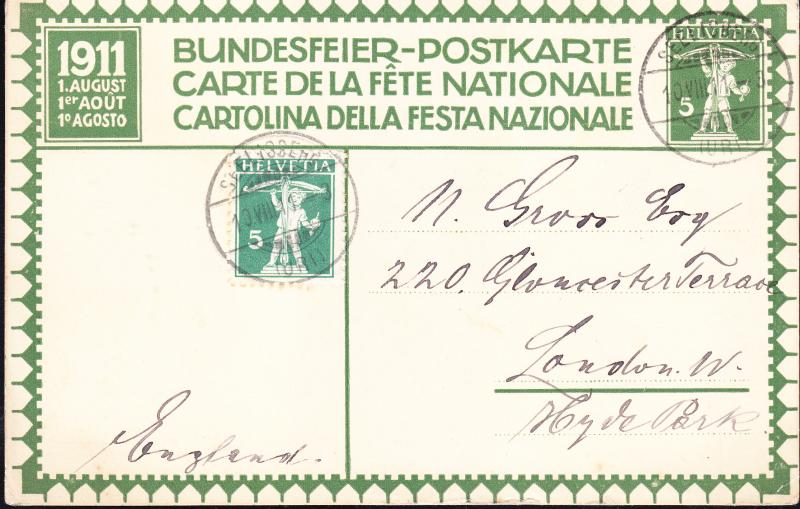 Switzerland 1911 Bundesfier Postkarte