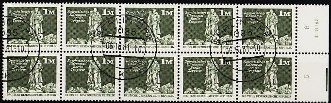 Germany(DDR). 1973 1dm(Block of 10). S.G.E2209. Fine Used(CTO)