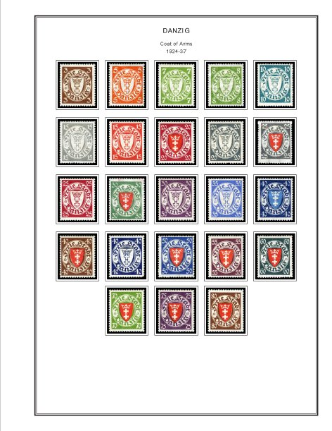 COLOR PRINTED DANZIG / GDANSK 1920-1939 STAMP ALBUM PAGES (45 illustrated pages)