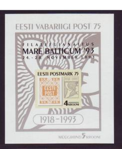 Estonia Sc 260a 1993 75th anniv 1st stamp sheet mint NH overprinted