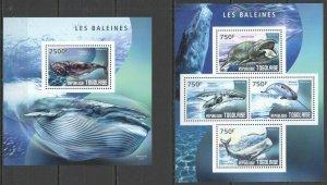 TG477 2014 TOGO FAUNA FISH & MARINE LIFE WHALES BALEINES KB+BL MNH