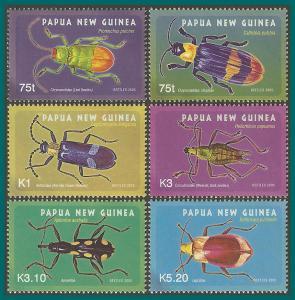 Papua New Guinea 2005 Beetles, MNH  #1182-1187,SG1091-SG1096