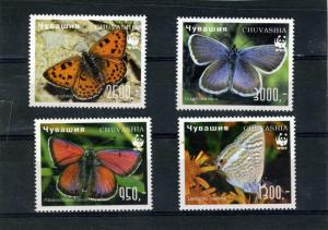 Chuvasia 1998 (Russia local) WWF Butterflies Set Perforated mnh.vf