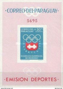 SW1307 - Paraguay - 1963 - Winter Olympic Games 1964 Innsbruck -- MNH Minisheet