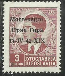 MONTENEGRO 1942 SOPRASTAMPATO DI JUGOSLAVIA YUGOSLAVIA OVERPRINTED LIRE 3 D 3...