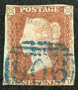 1841 Penny Red (GL) with Woburn 906 Cancel in Blue Crease Cat 250 Pounds