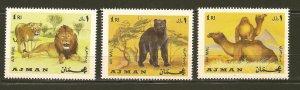 Ajman Wild Animal Stamps Lion Bear Camel MNH