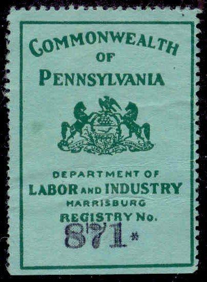 Pennsylvania State Revenue Stamp - Bedding Tax # BE9