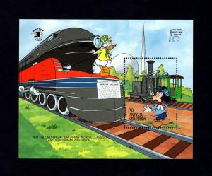 ANTIGUA - 1989 - DISNEY - TRAINS - DONALD - MICKEY - LOCOMOTIVE + MINT S/SHEET!