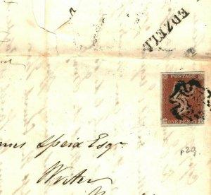 GB SCOTLAND *Edzell* Angus MX Cover MALTESE CROSS 1d Red 4 Margin 1843 EA10