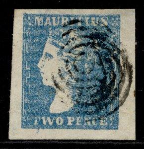 MAURITIUS QV SG44, 2d pale blue, FINE USED. Cat £850.