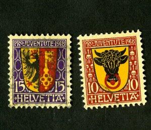 Switzerland Stamps # B10-11 VF Used Catalog Value $54.50
